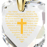 """The Lord's Prayer"" KJ Version, 24k Gold Plated Necklace, Cubic Zirconia"