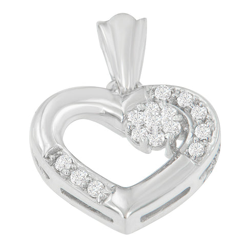 14K White Gold 1/5 CTTW Round Cut Diamond Heart Pendant Necklace (H-I, SI2-I1)