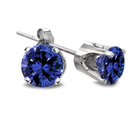 Sterling Silver 1/7ct.TDW Treated Blue Round-Cut Diamond Studs (Blue, I2-I3)