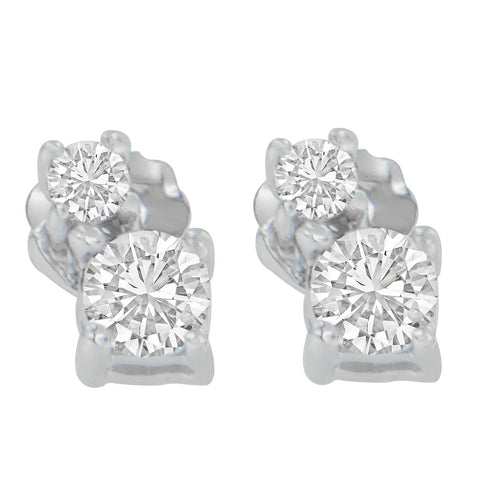 14K White Gold 0.5 CTTW Round Cut Diamond Earrings (H-I, SI2-I1)