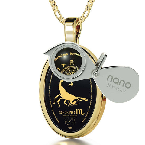 The World of Scorpio, 24k Gold Plated Necklace, Onyx