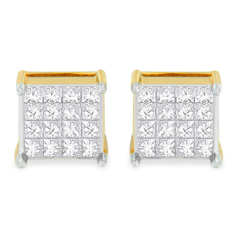 10k Yellow Gold 2 ct. TDW Princess Cut Diamond Stud Earrings  (H-I, I3)