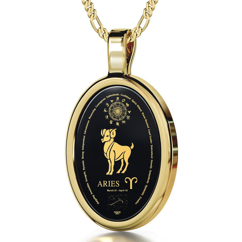 The World of Aries, 24k Gold Plated Necklace, Onyx
