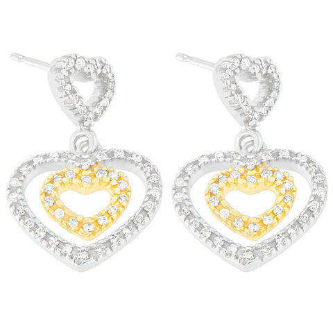 14K Two Toned 1/2ct. TDW Round-cut Diamond Earrings (H-I,SI1-SI2)