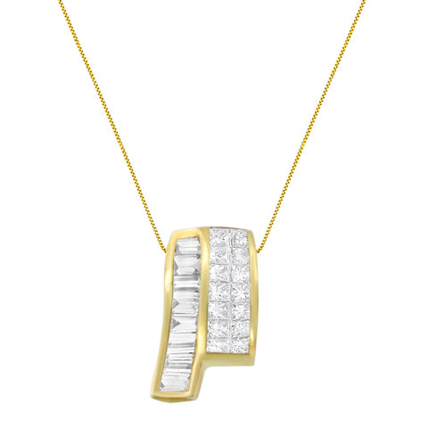 14k Yellow Gold Princess and Baguette-cut Diamond Necklace