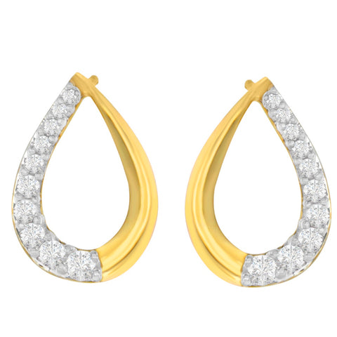 14K Yellow Gold 1/2ct. TDW Round- cut Diamond Earrings (H-I,SI1-SI2)