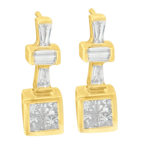 14K Yellow Gold 1.33 ct.TDW Baguette and Princess Cut Diamond Earrings (G-H,VS1-VS2)