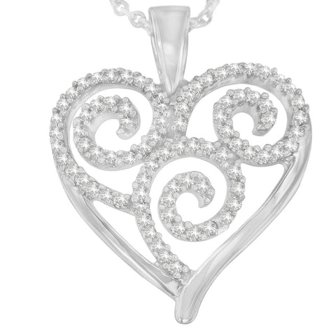 Sterling Silver 0.3 CTTW Round Cut Diamond Swirl and Heart Accent Pendant Necklace (H-I, I1-I2)