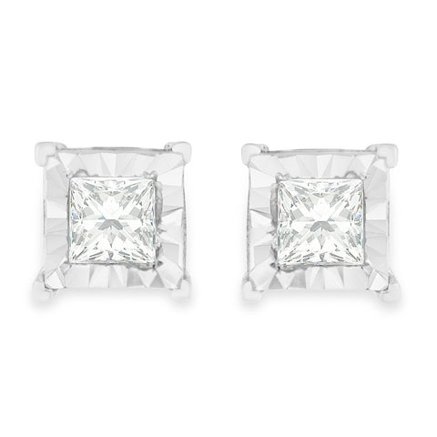 Sterling Silver .6ct TDW Princess Cut Diamond Stud Earrings (H-I,I2-I3)