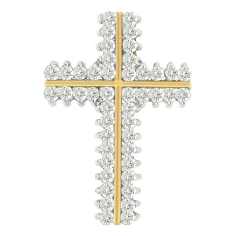 10k Yellow Gold 2 CTTW Round Cut Diamond Cross Pendant Necklace (H-I, I2-I3)