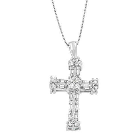 14k White Gold 1/5ct TDW Round and Baguette Cross Diamond Pendant Necklace (H-I, I2-I3)