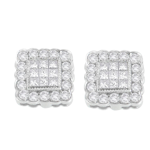 14K White Gold 1ct. TDW Round-cut and Princess-cut Diamond Stud Earring (G-H,SI1-SI2)