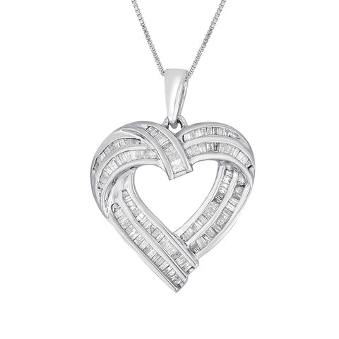 Sterling Silver 1ct TDW Diamond Heart Pendant Necklace (I-J, I2-I3)