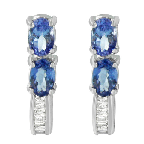 14K White Gold 2.16ct TDW Baguette-cut Diamonds and Tanzanite Earrings(G-H,SI2-I1)