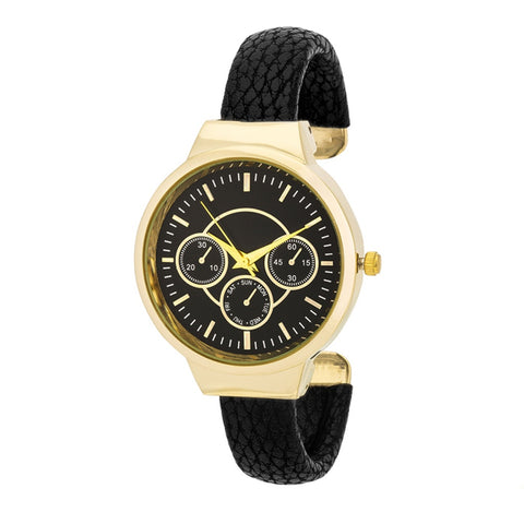 Black and Gold Cuff Watch