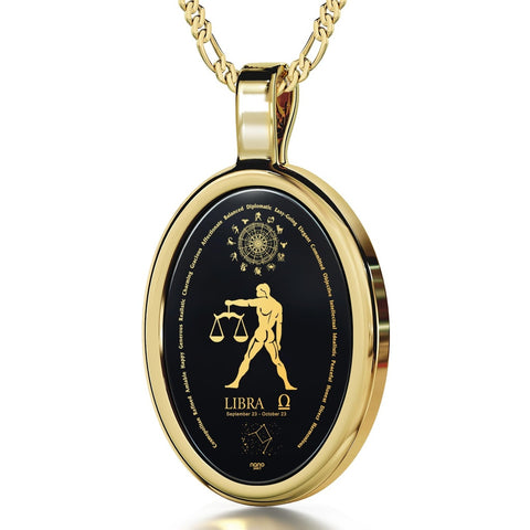 The World of Libra, 24k Gold Plated Necklace, Onyx