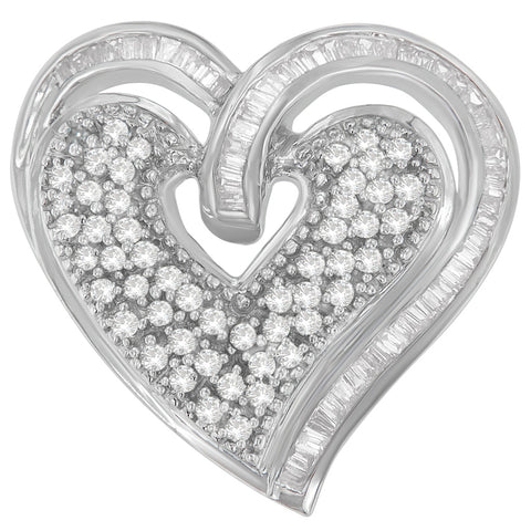 10k White Gold 0.75 CTTW Round and Baguette Cut Diamond Interlocked Heart Pendant Necklace (H-I, I1-I2)