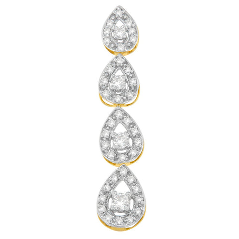 10K Yellow Gold 0.5 CTTW Round Cut Diamond Tears of Love Drop Pendant Necklace (H-I, I1-I2)