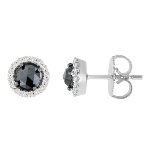 14K White Gold 1 CTTW Round and Rose-Cut Black Diamond Stud Earrings (H-I, I2-I3)