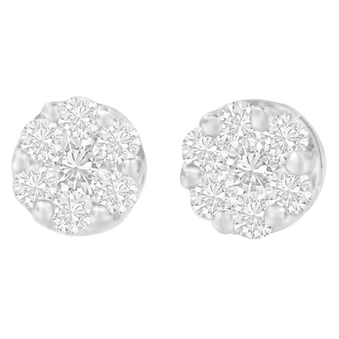 14K White Gold 1 1/4ct. TDW Round-cut Diamond Earrings (H-I,SI2-I1)