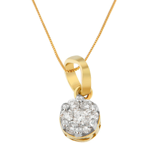 14K Yellow Gold 1/3 CTTW Round Cut Diamond Circle Pendant Necklace (H-I, I1-I2)