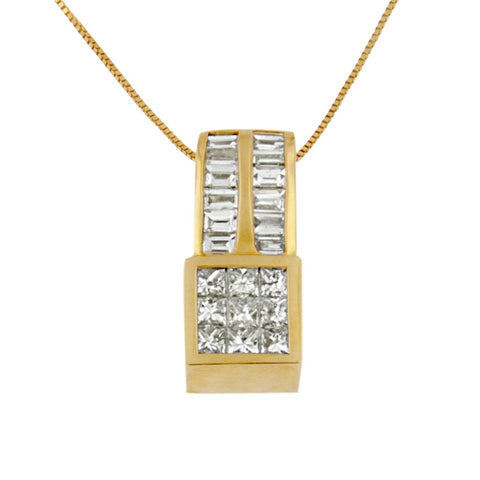14k Yellow Gold Princess and Baguette-cut Necklace