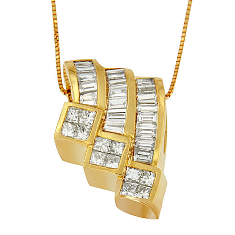 14k Yellow Gold 1 1/2ct TDW Princess and Baguette-cut Diamond Necklace