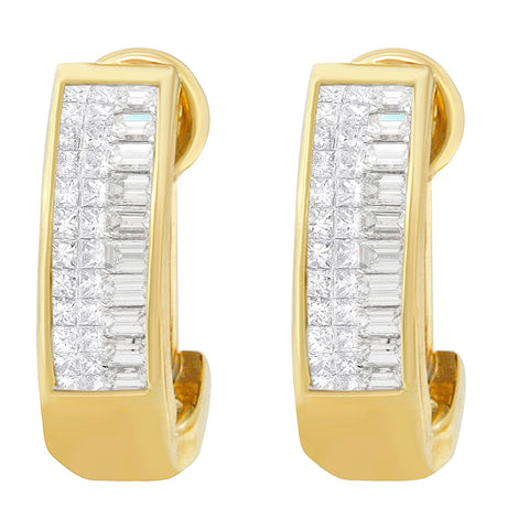 14K Yellow Gold 1ct. TDW Baguette and Princess-cut Diamond Earrings(H-I,VS1-VS2)