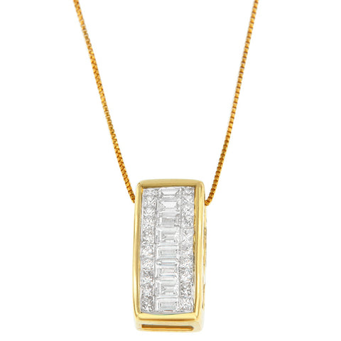 14K Yellow Gold Round, Princess and Baguette Cut Diamond Necklace