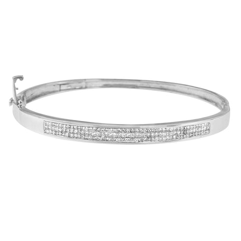 14K White Gold 1.50ct TDW Princess-cut Diamond Bangle (H-I,SI1-SI2)