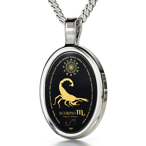 The World of Scorpio, 14k White Gold Necklace, Onyx