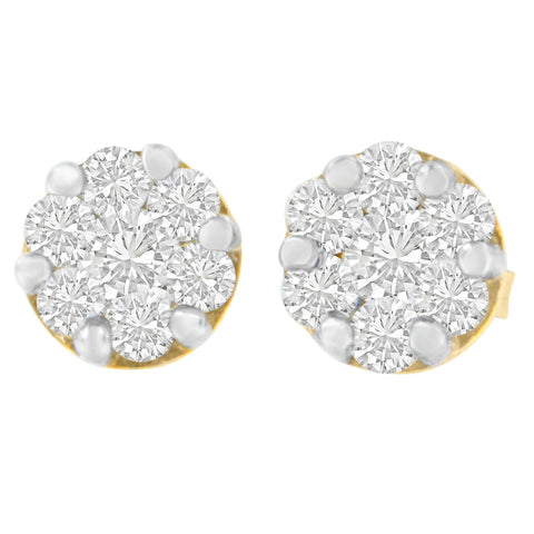 14K Two-Toned Gold 0.89 ct. TDW Round Cut Diamond Earrings (H-I,SI2-I1)