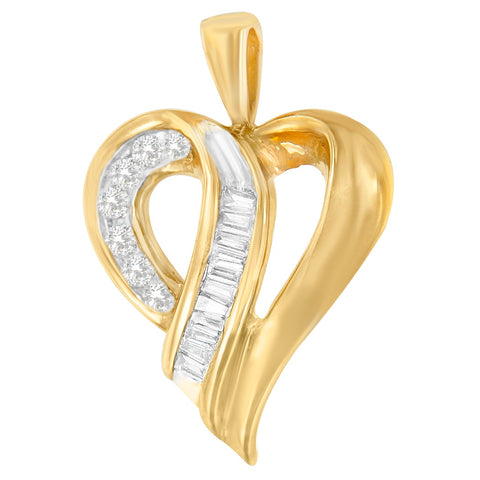 10k Yellow Gold 0.25 CTTW Round and Baguette Cut Diamond Love Heart Pendant Necklace (H-I, I1-I2)