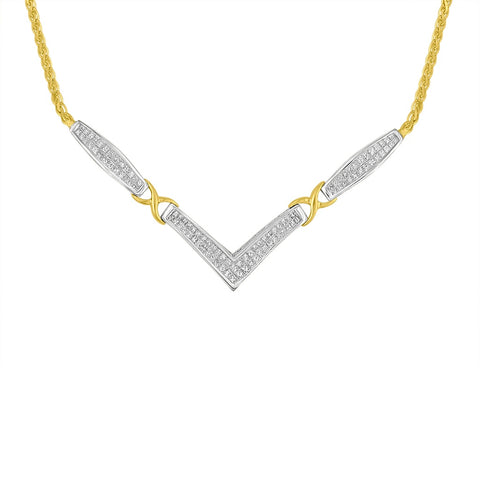 "14k Two-Toned Gold 2 CTTW Princess Cut Diamond ""V"" Shape Pendant Necklace (H-I,SI2-I1)"
