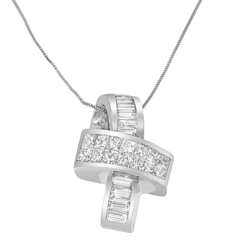 14K White Gold 1.95 CTTW Princess and Baguette Cut Diamond Ribbon Pendant Necklace (H-I,SI-SI2)