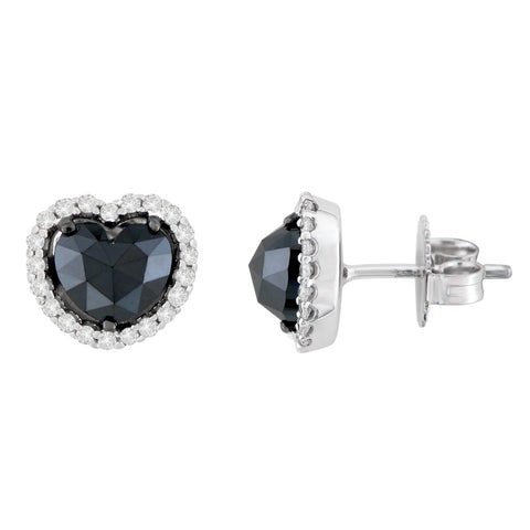 14K White Gold 2 1/3 CTTW Round and Black Heart-cut Diamond Stud Earrings (H-I, I2-I3)