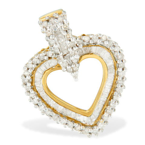 10k Yellow Gold 1 CTTW Round and Baguette Cut Diamond Heart Shaped Pendant Necklace (H-I, I2-I3)
