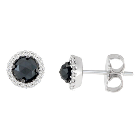 14K White Gold 3/4 CTTW Round and Rose-Cut Black Diamond Stud Earrings (H-I, I2-I3)