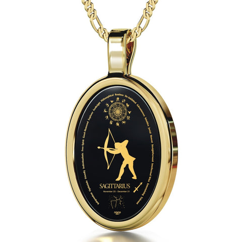 The World of Sagittarius, 24k Gold Plated Necklace, Onyx