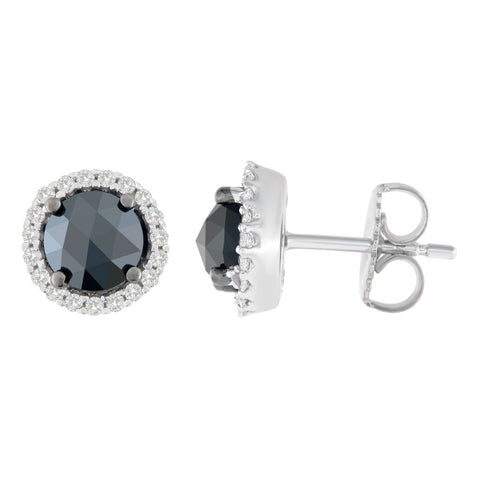 14K White Gold 2 1/4 CTTW Round and Rose-Cut Black Diamond Stud Earrings (H-I, I2-I3)