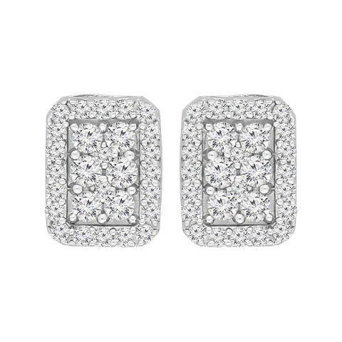 Sterling Silver 1.00ct TDW Round-Cut Box Stud Earrings (I-J, I3)