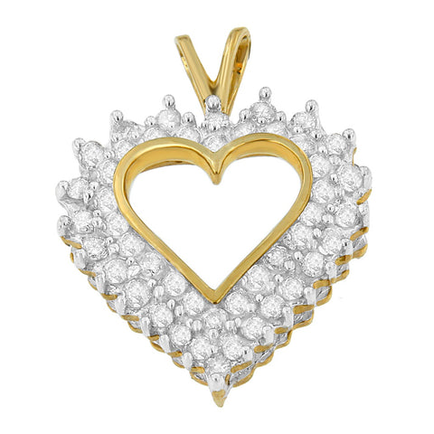 10K Yellow Gold 3 CTTW Round and Princess Cut Diamond Open Heart Pendant Necklace (I-J, I1-I2)