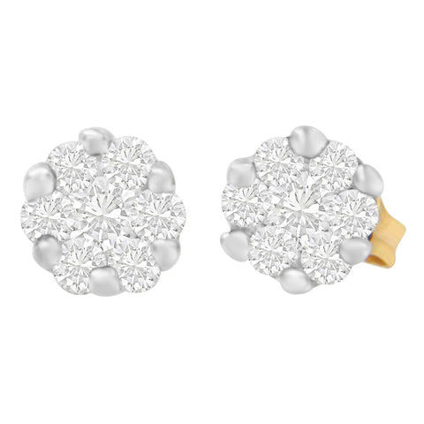 14k Yellow Gold 1/2ct TDW Round-cut Diamond Earrings (I-J, SI1-SI2)