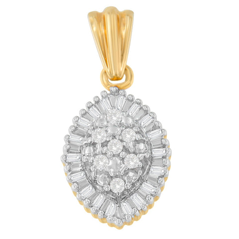 10K Yellow Gold Round and Baguette Cut Diamond Necklace