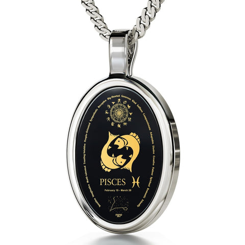 The World of Pisces, 14k White Gold Necklace, Onyx