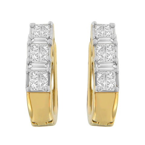 14k Yellow Gold 1/2ct TDW Princess and Baguette-cut Diamond Earrings (I-J,SI2-I1)
