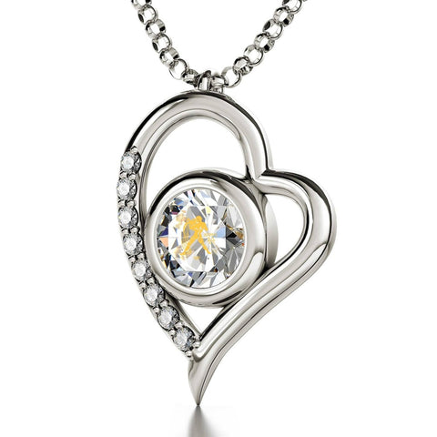 Aquarius Sign, 14k White Gold Diamonds Necklace, Swarovski
