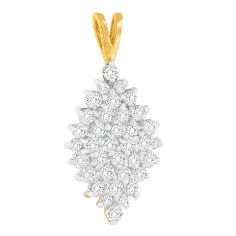 14K Yellow Gold 1 CTTW Round Cut Diamond Drop Halo Pendant Necklace (J-K, I1-I2)
