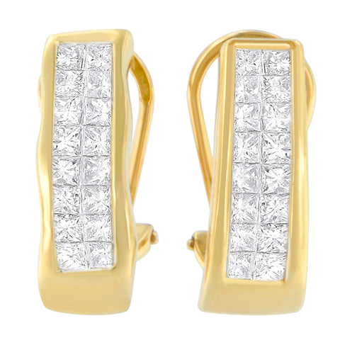14K Yellow Gold 1ct. TDW Princess-cut Diamond Earrings (G-H,VS1-VS2)