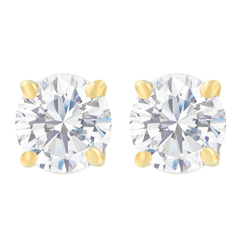 14K Yellow Gold 1.00ct TDW Round-Cut Diamond Solitaire Certified Stud Earrings (H-I, SI2-I1)